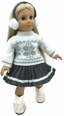 """Cream Winter Sweater, Skirt, & Earmuffs for 18"""" American Girl Doll Clothes"""