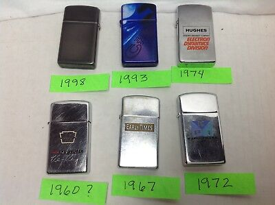 Vintage Lot Of 6-Zippo Slim Lighters In Good Used Condition