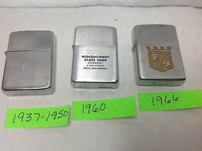 Vintage Lot Of 3-Zippo Standard Lighters In Good Used Condition.