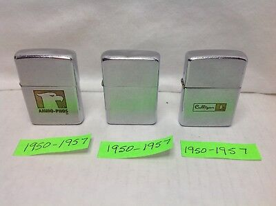 Vintage Lot Of 3-Zippo Standard Lighters In Good Used Condition