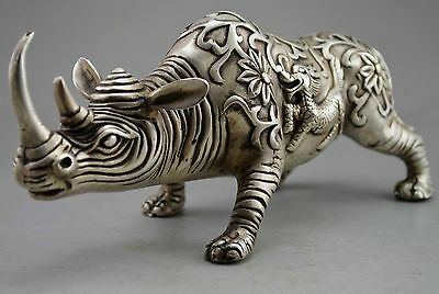 """10"""" Old Chinese Fengshui Silver copper Beast The rhino Rhinoceros Statue"""