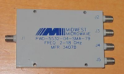 Midwest Microwave PWD-5532-04-SMA-79 4-Way Power Divider 2-18 GHz SMA