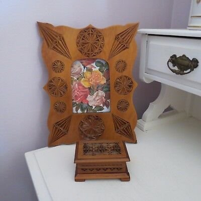 Antique chip carved picture photo frame & small trinket box