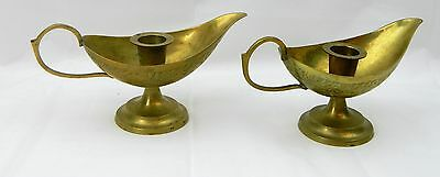 2 Etched Brass Chamber Handle Carrier Candle Stick Holder Lot Pair Genie Lamp