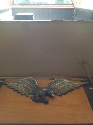 "Vintage Large 29 1/2"" Aluminum? American Eagle Plaque Wall Hanger Rustic Decor E"