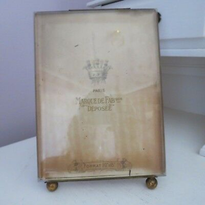 Antique French gilt brass & glass picture photo frame easel stand