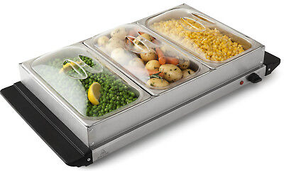 Electric 3 Tray Bain Marie Food Warmer Server Heating Station Buffet