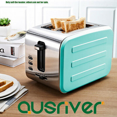 Stainless Steel Kitchen Electric Toaster Wide Slot 2 Slice Toaster Mint Green