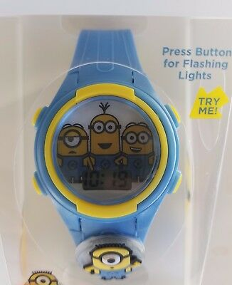 Despicable Me Flashing Charm & Dial LCD Kids Light Up Watch New