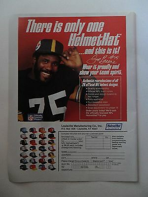 1981 Print Ad Helmet Hat Football Cap Fashions ~ Mean Joe Greene