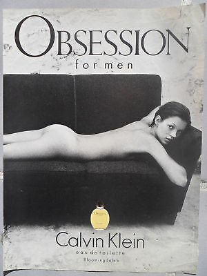 1994 Print Ad Calvin Klein Obsession Cologne Fragrance Sexy Supermodel KATE MOSS