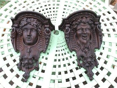 Antique CARVED WOOD  Bacchus Pan Matched PAIR OF WALL SHELVES Brackets