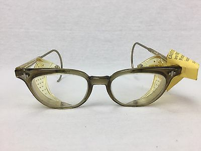 NOS 60s Bausch & Lomb Horn Rim Safety Glasses Goggles Steampunk Rockabilly 6 1/2