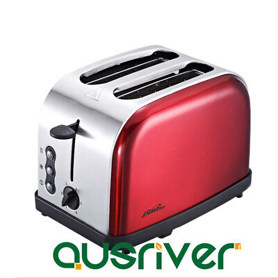 750W Red Electric Toaster Perfect Fit Wide Slot 2 Slice Toaster Stainless Steel