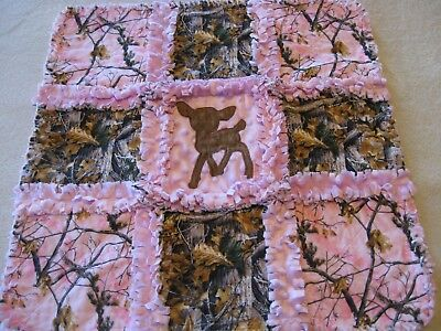 Real Tree Camo Baby Deer Baby Girl Lovey Car Seat Rag Blanket with Minky Backing