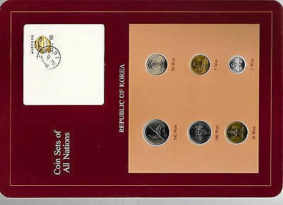 Coin Sets of All Nations Korea all 1983 but 500 Won 1984 UNC w/card 82.5.21