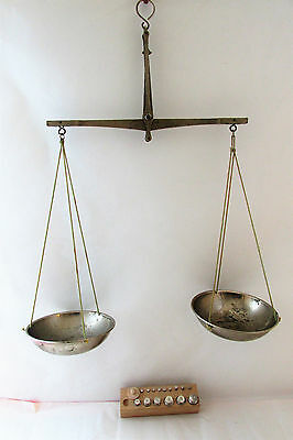 Vintage chrome-plated bronze Apothecary Scale Balance With Weights