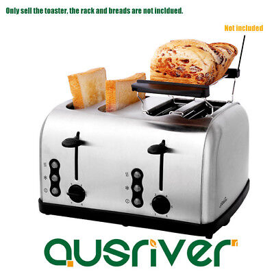 Premium Stainless Steel Silver Collection Wide Slot 4 Slice Home Toaster 1500W