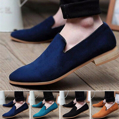 Mens Casual Business Slip On Loafer Shoes Moccasins Driving Shoes Suede Leather