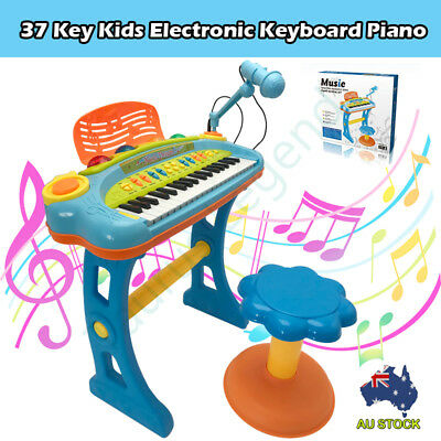 Blue 37 Key Kids Electronic Keyboard Piano Organ Toy Microphone Music Play Stool