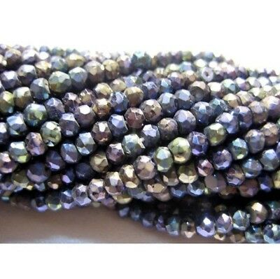 Pyrite Gem Stone Micro Faceted Coated Rondelle Beads 3mm Beads 14 Inch Strand