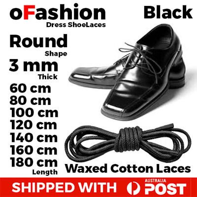 Wax Cotton Black Thin Round Dress Shoelaces Work Boot Hiking Trek Waxed Laces
