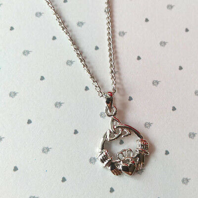 New Celtic Trinity Silver Plated Claddagh Pendant Necklace Z0037