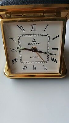 VINTAGE Very Rare Dugena 2 jewels travel Alarm clock made in Germany great cond.