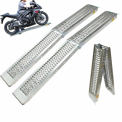 Pair Of Black Pro Range B5249 Folding Steel Motorcycle Ramp Van Trailer Loading