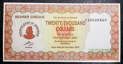 Zimbabwe 2003 $20,000 Bearer Cheque - Without Governor name- P23d, UNC