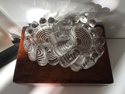 Pair Of Antique Clear Glass Piano Castor Cups Insulators Candle Holder