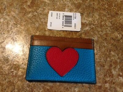 Coach # F11726 Heart Mult- Color Flat Leather Card Case Nwt Msrp $75. Fast Ship