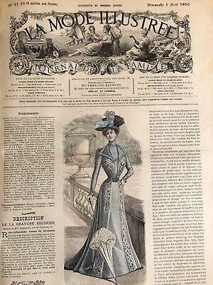 French MODE ILLUSTREE SEWING PATTERN August 5,1900 MOURNING DRESSES , ROBE MATIN