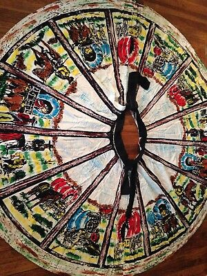 VTG Women's Hand Painted ART To WEAR  Mexican Circle SKIRT  M Os