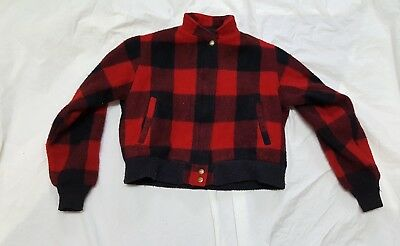 1960S Rare Woolrich Woman Womens Red Buffalo Plaid Jacket See Measurements