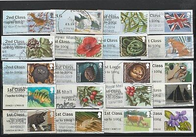 20 Used G B Post And Go Stamps Selection As Photo