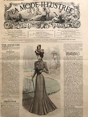 French MODE ILLUSTREE SEWING PATTERN March 25,1900 ROBE AVEC CORSELET, RETICULE