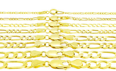 "10K Yellow Gold Italian Figaro Chain Link Bracelet Mens Women 2MM-9MM, 7"" 8"" 9"""