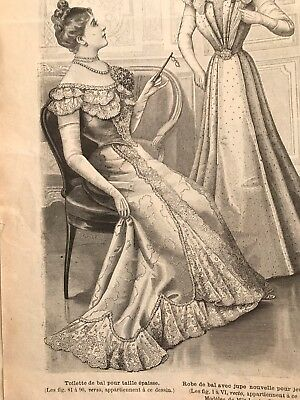 French MODE ILLUSTREE SEWING PATTERN Jan 7,1900 BALL GOWNS , MASQUERADE DRESS