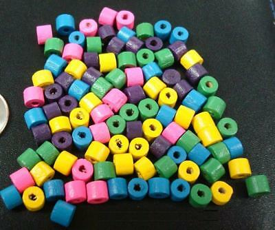 "100 4x5mm Wood rondell Beads assorted colors 1mm hole 12"" when strung WB016"