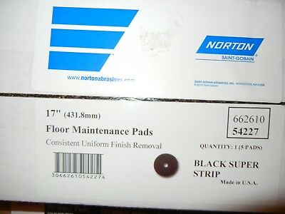 "Qty = 1 box of 5: Norton 17"" Black Floor Maintenance Pads 54227"