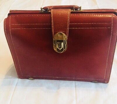 Vintage Oebling Cowhide Leather Attache Dentist Doctor RX Bag Brown Mid Century