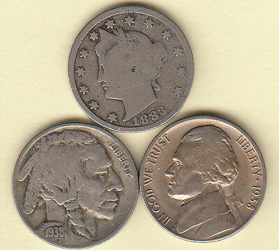 1883 Liberty With Cents 1938-D Buffalo 1938-D Jefferson  Nickel(3) Coin Type Set