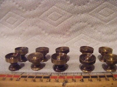 VTG. SMALL BRASS DRAWER KNOBS , PULLS , LOT OF 10 japan