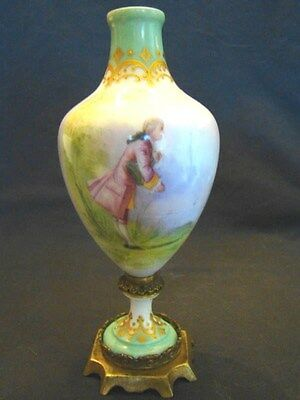 "Artist Signed Leduc Old Paris Porcelain Portrait Ormolu Urn Vase 7 1/2"" 19th c"