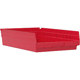 "Akro-Mils Plastic Shelf Bin, 11-1/8""W x 17-5/8""D x 4""H Red"