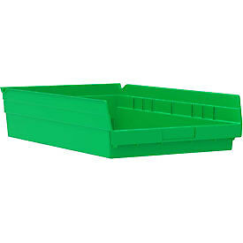 "Akro-Mils Plastic Shelf Bin Nestable 30178 - 11-1/8""W x 17-5/8""D x 4""H Green"