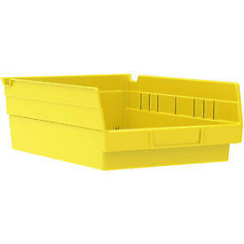 "Akro-Mils Plastic Shelf Bin Nestable 30150 - 8-3/8""W x 11-5/8""D x 4""H Yellow"