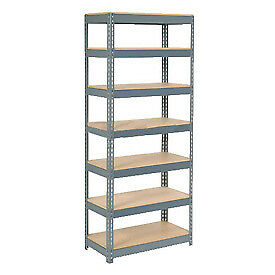 """Extra Heavy Duty Shelving 36""""W x 18""""D x 96""""H With 7 Shelves, Wood Deck"""