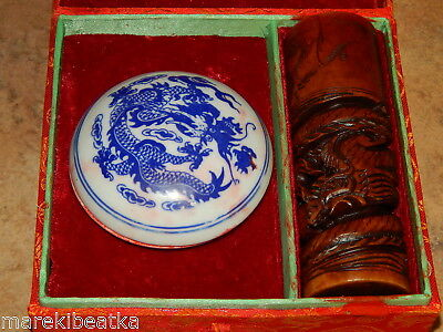 Vtg Chinese Orange Jade Carved Dragon & Etched Round Seal Wax With Box